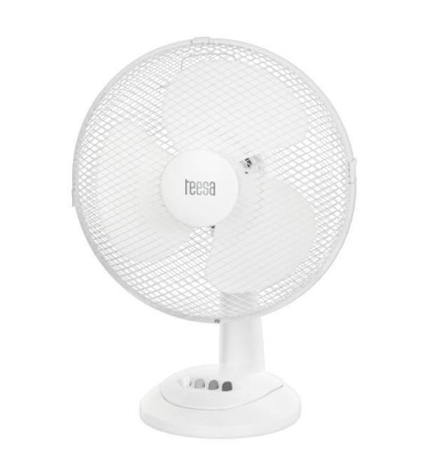 TEESA 35W/TSA8023 - Stolový otočný ventilátor biely