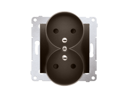Dvojitá zásuvka s uzemnením s clonkami - do rámčekov PREMIUM (prístroj s krytom) 16A 250V, skrutkové svorky, hnedá matná