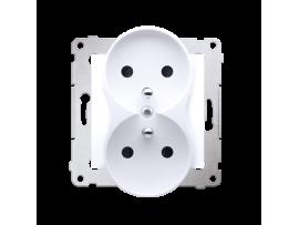 Dvojitá zásuvka s uzemnením s clonkami - do rámčekov NATURE (prístroj s krytom) 16A 250V, skrutkové svorky, biela