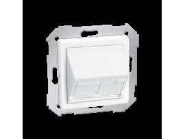 Kryt teleinformačních zásuviek na Keystone šikmá jednotná alebo dvojitá biela