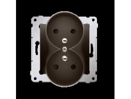 Dvojitá zásuvka s uzemnením s clonkami - do rámčekov NATURE (prístroj s krytom) 16A 250V, skrutkové svorky, hnedá matná