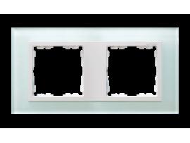 Rámček 2- násobný sklenený prírodný / biala