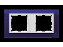 Rámček 2- násobný sklenený morský / biela