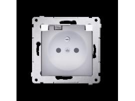 Jedno zásuvka s krytím IP44  - bez tesnenia - transparentná klapka pre rámčeky Nature pre rámčeky Premium (prístroj s krytom) 16A 250V, skrutkové svorky, biela