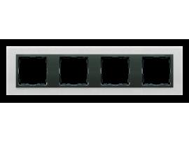 Rámček 4- násobný kovový inox mat / grafit