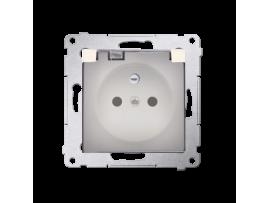 Jedno zásuvka s krytím IP44 - s tesnením pre rámčeky Premium - klapka v transparentnej farbe pre rámčeky Premium (prístroj s krytom) 16A 250V, skrutkové svorky, krémová