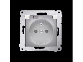 Jedno zásuvka s krytím IP44  - bez tesnenia - transparentná klapka pre rámčeky Nature pre rámčeky Premium (prístroj s krytom) 16A 250V, skrutkové svorky, strieborná matná