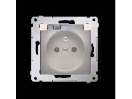 Jedno zásuvka s krytím IP44 - s tesnením pre rámčeky Premium - klapka v transparentnej farbe pre rámčeky Premium (prístroj s krytom) 16A 250V, skrutkové svorky, zlatá matná