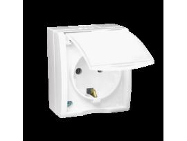 Jedno zásuvka s uzemnením typu Schuko -kritie IP 54 s krycou klapkou bielej farby biela 16A