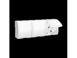 Zásuvka trojitá s uzemnením typu SCHUKO - krytie IP54 s krycou klapkou bielej farby biela 16A