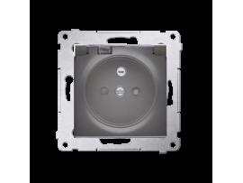Jedno zásuvka s krytím IP44  - bez tesnenia - transparentná klapka pre rámčeky Nature pre rámčeky Premium (prístroj s krytom) 16A 250V, skrutkové svorky, antracitová