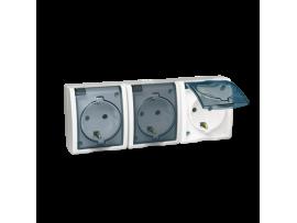 Zásuvka trojitá s uzemnením typu SCHUKO  - krytie IP54 - krycia klapka transparentnej farby biela 16A