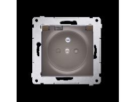 Jedno zásuvka s krytím IP44 - s tesnením pre rámčeky Premium - klapka v transparentnej farbe pre rámčeky Premium (prístroj s krytom) 16A 250V, skrutkové svorky, hnedá matná