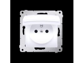 Jedno zásuvka s krytím IP44 - bez tesnenia - klapka vo farbe krytu pre rámčeky Premium (prístroj s krytom) 16A 250V, skrutkové svorky, biela