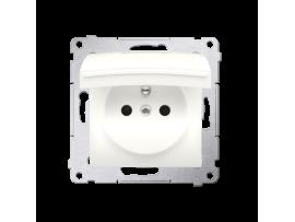 Jedno zásuvka s krytím IP44 - s tesnením pre rámčeky Premium - klapka vp farbe krytu pre rámčeky Premium (prístroj s krytom) 16A 250V, skrutkové svorky, krémová