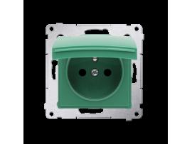 Jedno zásuvka s krytím IP44 - bez tesnenia - klapka vo farbe krytu pre rámčeky Premium (prístroj s krytom) 16A 250V, skrutkové svorky, zelený ZRUŠENÉ Z PONUKY - VÝMENA: SGZ1M + DGZ1BUZP/33