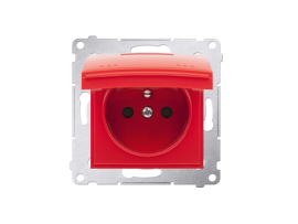 Jedno zásuvka s krytím IP44 - bez tesnenia - klapka vo farbe krytu pre rámčeky Premium (prístroj s krytom) 16A 250V, skrutkové svorky, červený ZRUŠENÉ Z PONUKY - VÝMENA: SGZ1M + DGZ1BUZP/22