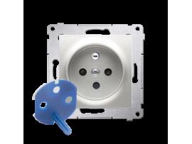 Jedno zásuvka DATA s oprávňujúcim kľúčom pre rámčeky Nature pre rámčeky Premium (prístroj s krytom) 16A 250V, skrutkové svorky, strieborná matná