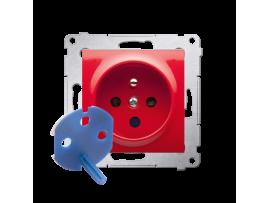 Jedno zásuvka DATA s oprávňujúcim kľúčom pre rámčeky Nature pre rámčeky Premium (prístroj s krytom) 16A 250V, skrutkové svorky, červený