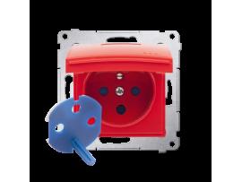 Jedno zásuvky  DATA s krytím IP44 s oprávňujúcim kľúčom pre rámčeky Nature pre rámčeky Premium (prístroj s krytom) 16A 250V, skrutkové svorky, červený ZRUŠENÉ Z PONUKY - VÝMENA: SGD1M +DGD1BP/22