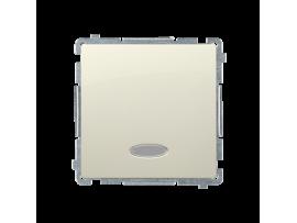 Striedavý prepínač s orientačným podsvietením bez piktogramu nevymeniteľný LED farba: modrá (prístroj s krytom) 10AX 250V, pružinové svorky, béžový