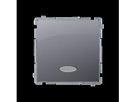 Jednopólovy spínač s orientačným podsvietením nevymeniteľný LED farba: modrá (prístroj s krytom) 10AX 250V, pružinové svorky, nerez, metalizovaný
