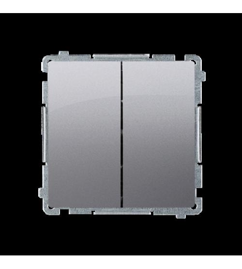 Sériový spínač s orientačným podsvietením nevymeniteľný LED farba: modrá (prístroj s krytom) 10AX 250V, pružinové svorky, nerez, metalizovaný