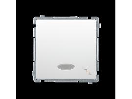 Striedavý prepínač s orientačným podsvietením nevymeniteľný LED farba: modrá (prístroj s krytom) 10AX 250V, pružinové svorky, biela