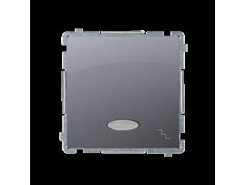 Striedavý prepínač s orientačným podsvietením nevymeniteľný LED farba: modrá (prístroj s krytom) 10AX 250V, pružinové svorky, nerez, metalizovaný