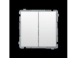 Striedavý prepínač dvojitý, radenie č. 6+6 (prístroj s krytom) 10AX 230V, skrutkové svorky, biela