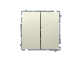 Striedavý prepínač dvojitý, radenie č. 6+6 bez piktogramu (prístroj s krytom) 10AX 230V, skrutkové svorky, béžový