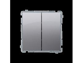 Striedavý prepínač dvojitý, radenie č. 6+6 (prístroj s krytom) 10AX 230V, skrutkové svorky, nerez, metalizovaný