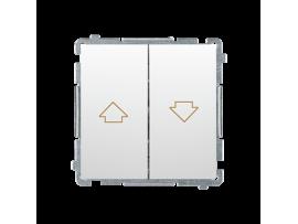 ZRUŠENÉ Z PONUKY - VÝMENA: BMZW1K.01/.. Spínač žalúziový s blokovaním, radenie 1/0+1/0 (prístroj s krytom) 10A 250V, skrutkové svorky, biela
