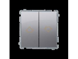 ZRUŠENÉ Z PONUKY - VÝMENA: BMZW1K.01/.. Spínač žalúziový s blokovaním, radenie 1/0+1/0 (prístroj s krytom) 10A 250V, skrutkové svorky, nerez, metalizovaný