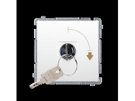 """Jednopólový spínač na kľúčik - 2 pozíciový """"0-I"""" (prístroj s krytom) 5A 250V, pre spájkovanie, biela"""