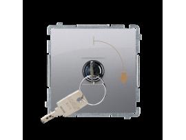 """Jednopólový spínač na kľúčik - 2 pozíciový """"0-I"""" (prístroj s krytom) 5A 250V, pre spájkovanie, nerez, metalizovaný"""
