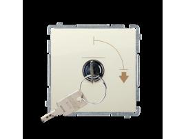 """Spínač na kľúč (tlačidlo) 2 polohový """"0-I"""" (prístroj s krytom) 5A 250V, pre spájkovanie, béžový"""