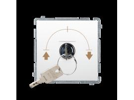 """Spínač na kľúčik žaluziový 3 polohový """"I-0-II"""" (prístroj s krytom) 5A 250V, pre spájkovanie, biela"""