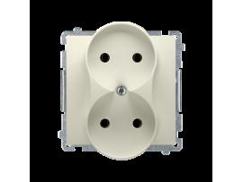 Dvojitá  zásuvka bez uzemnenia s clonkami béžový 16A