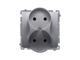 Dvojitá zásuvka bez uzemnenia nerez, metalizovaný 16A