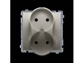 Dvojitá  zásuvka bez uzemnenia s clonkami saténový, metalizovaný 16A