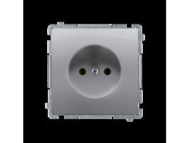 Jedno zásuvka bez uzemnenia s clonkami nerez, metalizovaný 16A