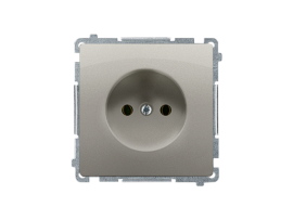 Jedno zásuvka bez uzemnenia saténový, metalizovaný 16A