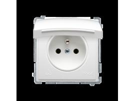 Jedno zásuvka s krytím IP44  - klapka vo farbe krytu biela 16A