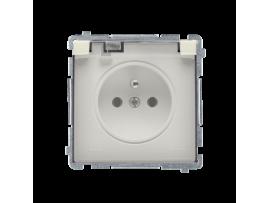 Jedno zásuvka s krytím IP44  - klapka v transparentnej farbe béžový 16A