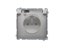 Jedno zásuvka s krytím IP44  - klapka v transparentnej farbe saténový, metalizovaný 16A