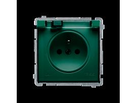 Jedno zásuvka s krytím IP44 s clonkami- klapka v transparentnej farbe zelený 16A