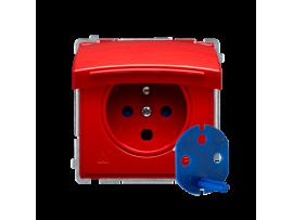 Jedno zásuvky  DATA s krytím IP44 s oprávňujúcim kľúčom červený 16A