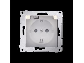 Jedno zásuvka Schuko pre verziu IP44 s uzemnením typu Schuko s clonkami - s tesnením rámčeku - klapka v transparentnej farbe pre rámčeky Nature pre rámčeky Premium (prístroj s krytom) 16A 250V, skrutkové svorky, krémová