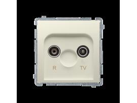Anténna zásuvka R-TV ukončená do priechodných zásuviek tlm.:10dB béžový